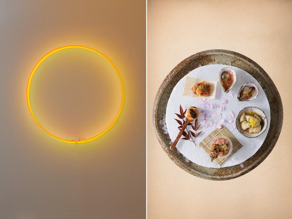 Laurent Grasso's neon Eclipse and Chef Zuma interpretation  Source: (from left) Edouard Malingue Gallery; Zuma via Bloomberg