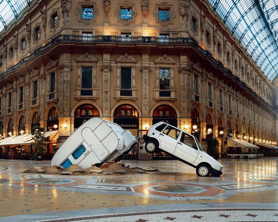 Nicola Trussardi Foundation. Michael Elmgreen & Ingar Dragset, installation view, Galleria Vittorio Emanuele, 2003. Courtesy Fondazione Nicola Trussardi
