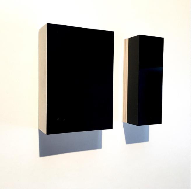 Nicolò Baraggioli, Dyptic, 2018, 21x7.5x6cm, Black plexi box on wooden panelglass