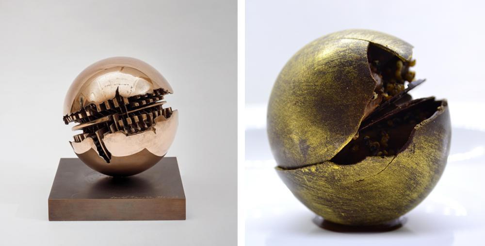 """Arnaldo Pomodoro's """"Sfera"""" and Chef Daniel Canzian's dessert reinterpretation of the artwork"""