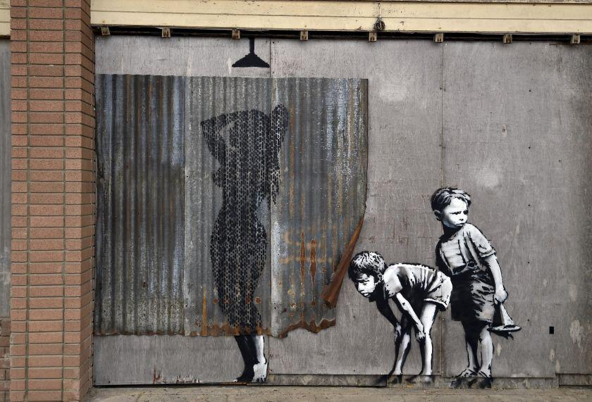 A mural is pictured at 'Dismaland' a theme park-styled art installation by British artist Banksy, at Weston-Super-Mare in southwest England, Britain, August 20, 2015.