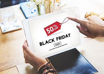 Selección de oferta de Black Friday en la tablet