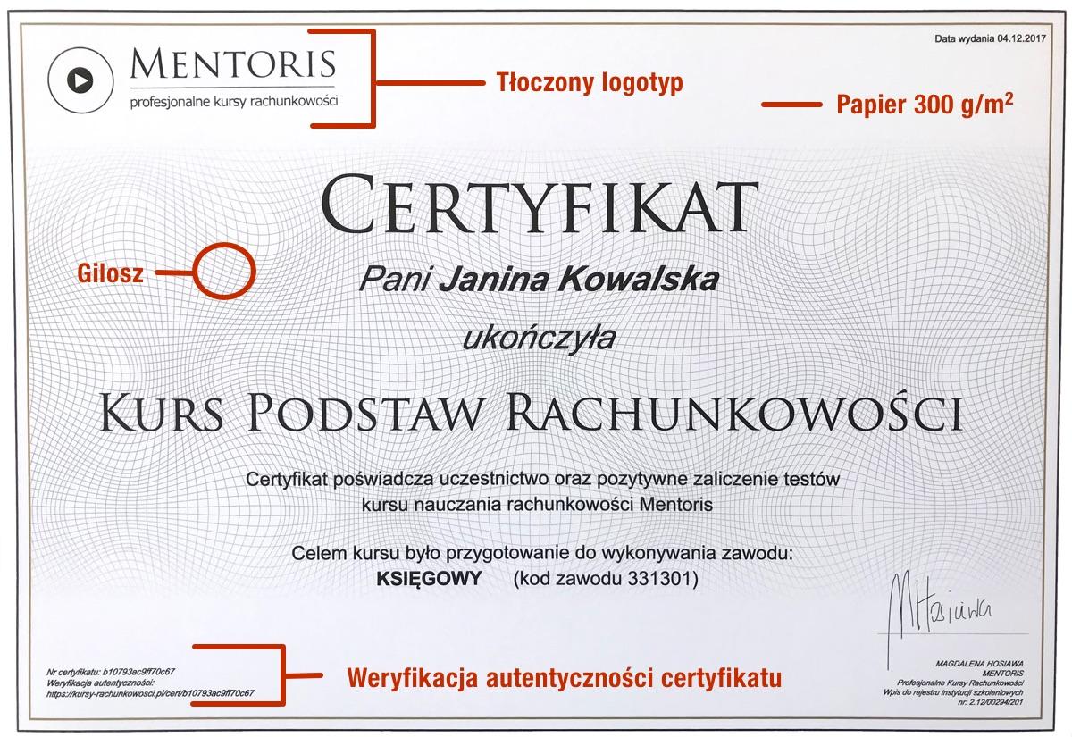 Certyfikat przyklad