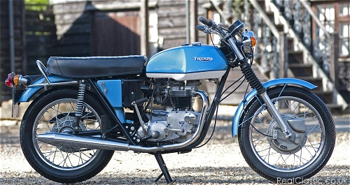 A blue examples of Triumph's TR6...