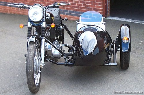 Enfield Meteor sidecar outfit, from the front....