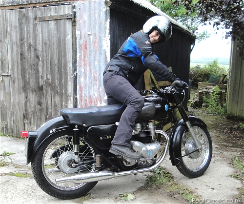An AJS, restored the other way. What could possibly go wrong? And is that a spot of oil unde the sump?...