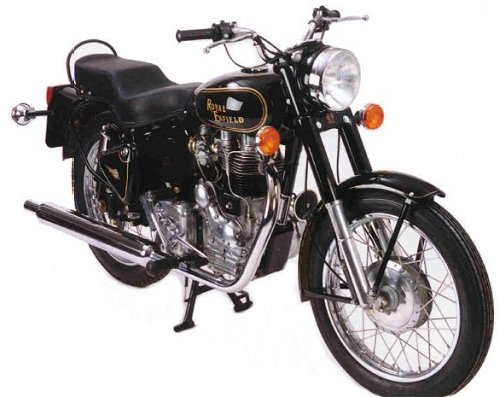 A Royal Enfield which may or may not be like the one Emm has just ridden home.