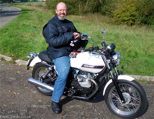 A Moto Guzzi and a (non-angry) man, yesterday...