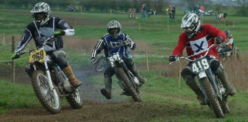 All three Greeves Scramble Models ever made in one shot, (left) Chris Mace aboard 1972 380cc Greeves Griffon, (centre) Ian Aim 1966 250cc Challenger, (right) Michael Eustace on his 1958 250cc Hawkstone.