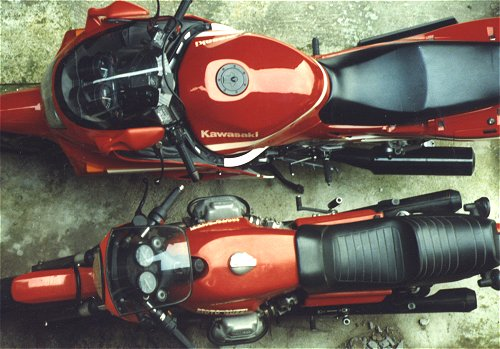 Exotic Location 5: Underneath the bedroom window. Note the Guzzi's sticky out brake pedal, and the tucked in replacement. Interestingly, I've still got one of these bikes. You guess which one...