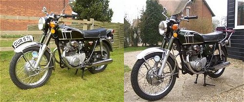 The one with the rack and the slightly darker spokes is the one that *isn't* restored. Just so you know.
