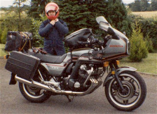 John's wife Carol buckles up prior to setting off for Austria on the CBX1000-C