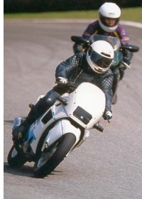 The Gooseneck at Cadwell, 2003, in front of an Aprilia RS250.