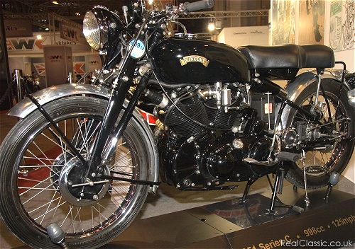 1951 998cc Vincent Series C Black Shadow. The curse of photography at the NEC is the lighting, which confuses many cameras...