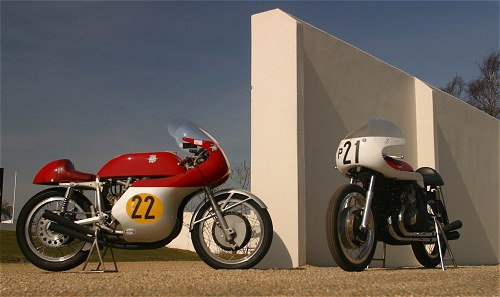 An MV and a Gilera confront an arty photographer, yesterday...