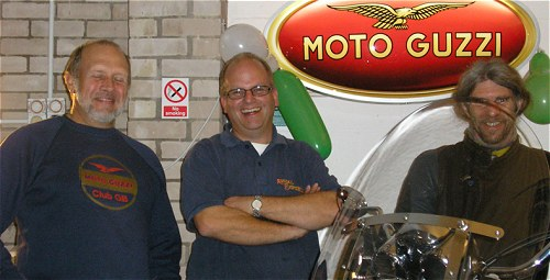 Mark (centre) thought Paul was joking when he asked for a push to start his Guzzi....