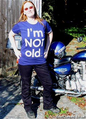 Ms Hoseason wearing her Draggin Jeans. Traditional biker's baggy bottom not included.