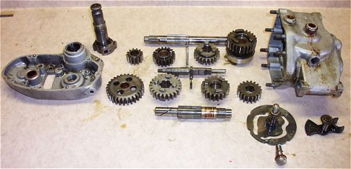 An exploded view of the gearbox. Which is much better than a view of the exploded gearbox.
