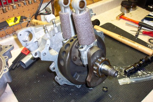 Crank assembly, half fitted. Read on...
