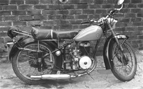 The 'Oddity'. Villiers 197cc engine clamped to the Bantam frame with home made brackets. Where did that silencer come from?
