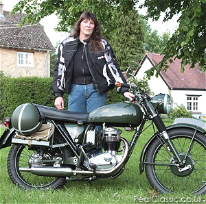 Jacqui and her BSA B40'...