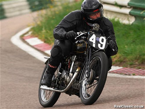 VMCC boss James Hewing on track at last year's Festival of 1000 Bikes...