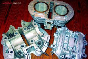 Beadblasted Yamaha XS650 motorcycle engine