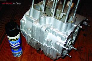 Painting crankcases on Yamaha XS650 motorcycle engine