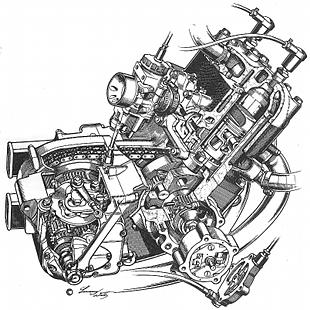 Silk motorcycle engine cutaway by Lawrie Watts, technical motorcycle illustrator