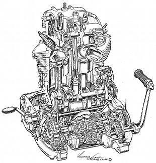Triumph T140 motorcycle engine cutaway by Lawrie Watts, technical motorcycle illustrator