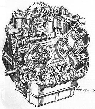 Stepped piston V four cutaway illustration designed by Bernard Hooper