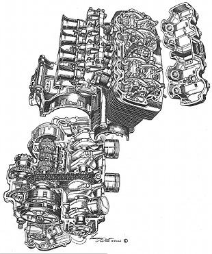 Honda four cyclinder motorcycle engine cutaway by Lawrie Watts