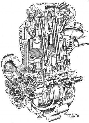 Norton Commando cutaway illustratrion by Lawrie Watts