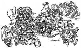 Ducati Pantah motorcycle engine cutaway