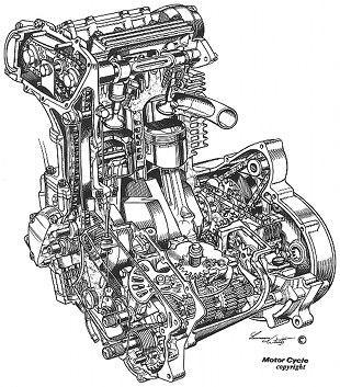 Triumph Bandit engine cutaway illustration by Lawrie Watts