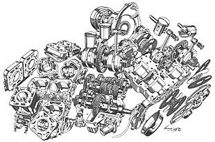 Suzuki's square four motorcycle engine cutaway by Lawrie Watts