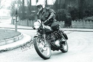 Bob Curries road testing a BSA Starfire single cylinder motorcycle