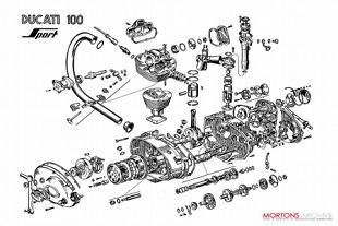 Ducati 125 motorcycle engine artwork