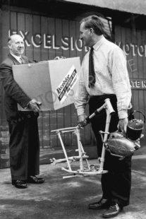 Bob Currie and Jack Wise pose with Excelsior Consort motorcycle kit, devised to avoid purchase tax