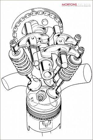 Honda CB250 cylinder head artwork