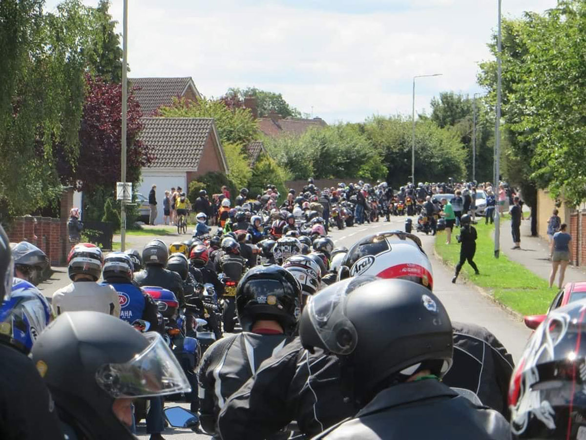 Motorcycle riders gather in Loughborough