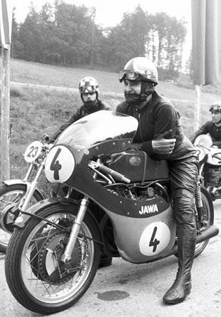 Franta Stastny aboard his 1960 350cc Jawa in 1981