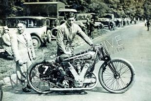 Owen Baldwin with 1000cc AJS V-twin