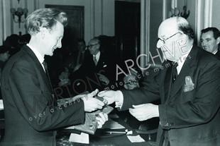 Pip Harris receives an award