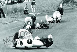 Pip Harris racing a bike with sidecar