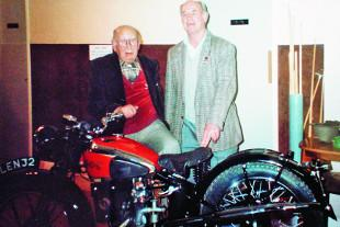 Len Vale-Onslow poses on Leonard Taylor's SOS DW motorcycle