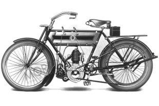 Redesigned for the 1906 season, Triumph's first model with their own rocking action sprung fork