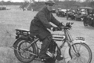 Triumph motorcycle proprietor Frank McNab on Brooklands motorcycle