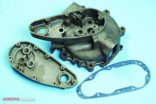 Engine crankcase assemblies and gasket