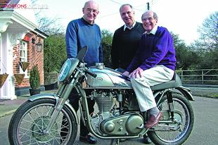 Owner Bob Chapman, restorer Bernie Allen and rider Geoff Tanner all look delighted with the end result of the restored Norton International